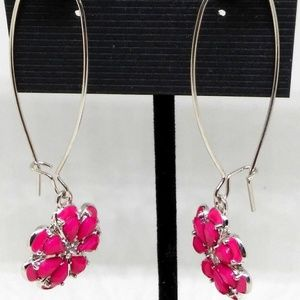 Earrings Pink Flower Drop/Dangle Hoop Pierced 1287